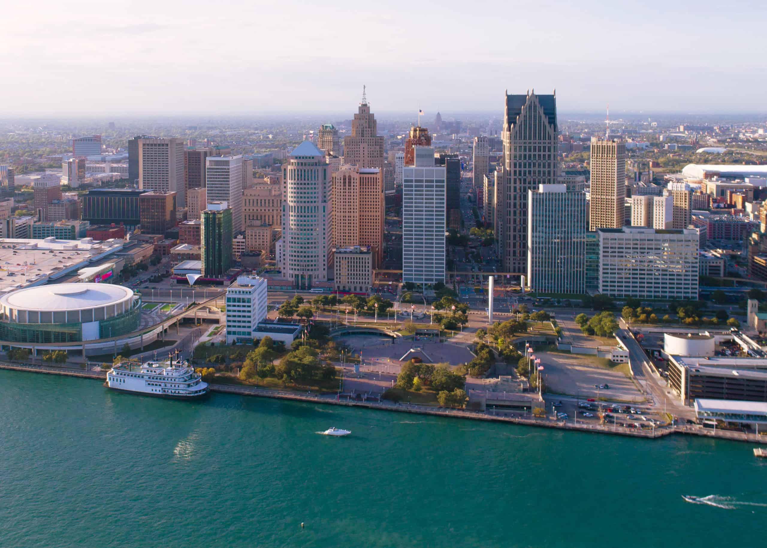 Detroit Michigan at sunset
